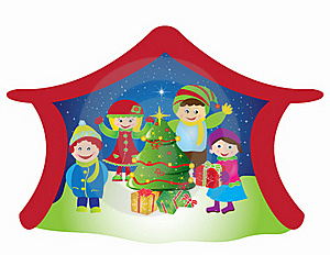 Christmas Card Frame Gift Figures Tree Stock Photography - Image: 20416902