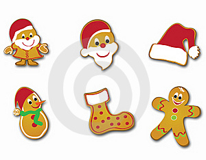 Christmas Card Cookies Frame Gift Tree Royalty Free Stock Photography - Image: 20417057