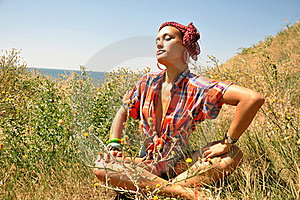 Lovely Young Woman In The Field Stock Image - Image: 20419551