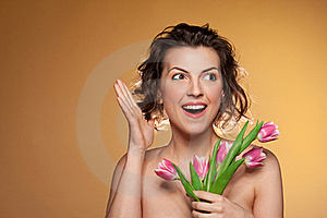 Beautiful Girl With Wow Emotion. Royalty Free Stock Image - Image: 20420106
