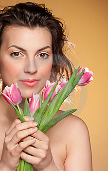 Beautiful Girl With Tulips Stock Image - Image: 20420201