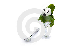 Egg With Comic Face And A Teaspoon Royalty Free Stock Images - Image: 20426539