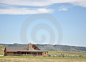 Summer Log Cabin And Yard In The Hills Royalty Free Stock Photos - Image: 20428568