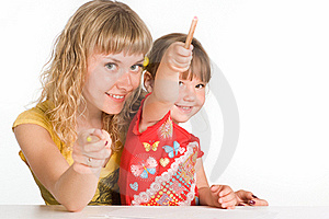Mom And Daughter Drawing Royalty Free Stock Photos - Image: 20429198