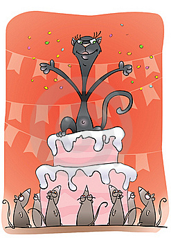 Black Cat On A Cake Royalty Free Stock Image - Image: 20429676