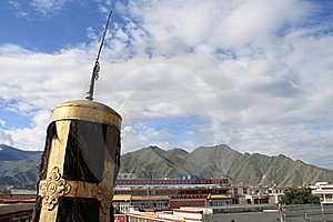 Tibetan Religious Symbol Overlooking Lhasa Stock Images - Image: 20431644
