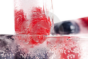 Raspberry And Blackberry Frozen In Ice Sticks Stock Photography - Image: 20434902