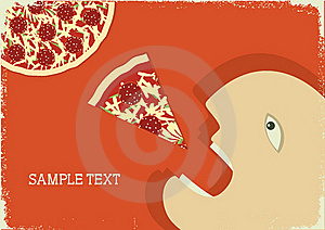 Hungry Man And Pizza.Vector Poster Royalty Free Stock Photo - Image: 20435055
