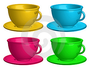 Color Cups Isolated Royalty Free Stock Photo - Image: 20436505