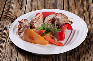 Venison Skewer And Vegetables Royalty Free Stock Photography - Image: 20437057