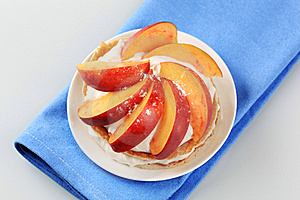 Pancakes With Sweet Cheese And Fresh Nectarine Stock Photos - Image: 20437523