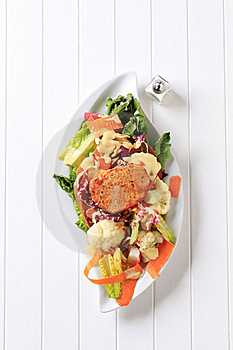 Marinated Pork Chop And Vegetable Salad Royalty Free Stock Photo - Image: 20437885