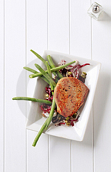 Pan Fried Pork Chop And Vegetables Royalty Free Stock Photos - Image: 20437908