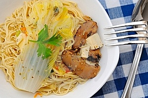 Simple And Healthy Chinese Yellow Noodles Royalty Free Stock Images - Image: 20438649