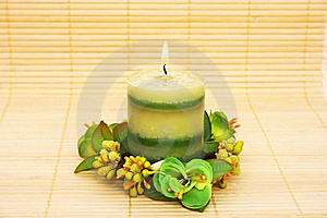 Candle With Flowers Stock Image - Image: 20439691