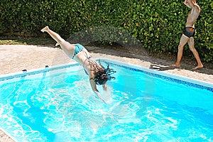 Woman Jumping To Swimming Pool Stock Image - Image: 20440581
