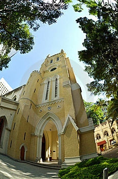 Fisheye View Of St John Cathedral Church, Hong Kon Royalty Free Stock Photo - Image: 20441205