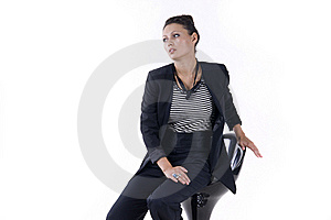 Beautiful Girl Sits On The Bar Stool Stock Images - Image: 20441884