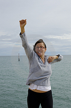 Mature Woman In Winner Pose Stock Photography - Image: 20441922
