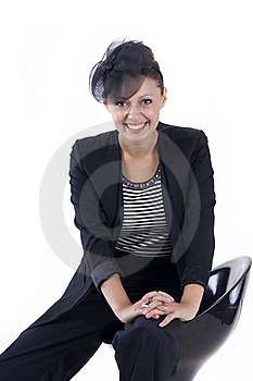 Beautiful Girl Sits On The Bar Stool Stock Photos - Image: 20441933