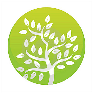 Glossy Green Tree Button Royalty Free Stock Image - Image: 20442446