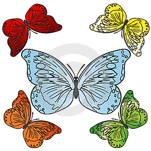 Vector Colorful Butterflies Set Stock Photos - Image: 20442493