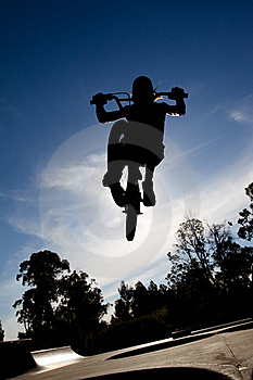 Silhouette Of Freestyle BMX Rider Getting Air Royalty Free Stock Photos - Image: 20443718