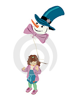 Girl With Snowman-air-balloon Royalty Free Stock Photography - Image: 20444697