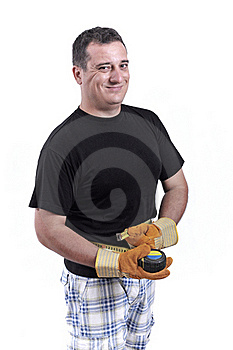 Man With A Tape Measure Royalty Free Stock Photography - Image: 20446347