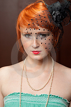 Mourning Widow Redhead With Freckles On Brown Royalty Free Stock Photography - Image: 20449687
