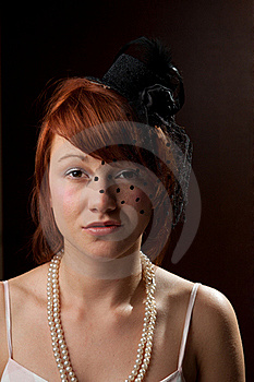 Widow Redhead On Brown Background Royalty Free Stock Image - Image: 20449716