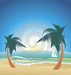 Seaside With Palms-night Stock Images - Image: 20454054