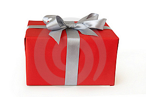 Red Gift Box With Silver Ribbon Royalty Free Stock Images - Image: 20459529
