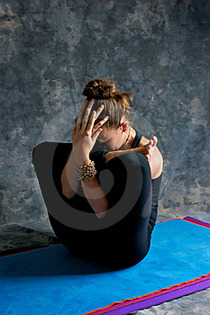Woman Doing Yoga Exercise Womb Pose Stock Photo - Image: 20467720