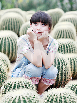 Asia Girl In Cactus Field Stock Photos - Image: 20467733