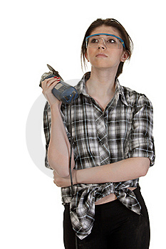 Girl With An Angle Grinder Royalty Free Stock Photos - Image: 20472028