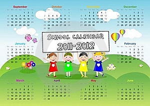 School Calendar 2011 2012 Royalty Free Stock Image - Image: 20473396