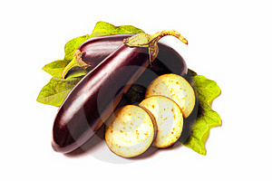 Eggplant With Leafs On White Royalty Free Stock Photography - Image: 20473927
