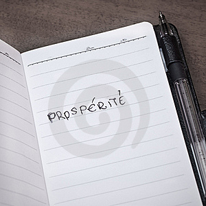 Notepad Page With Word Prosperity Written In It Royalty Free Stock Photography - Image: 20475777
