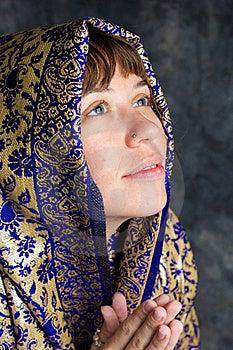 Beautiful Woman Smiling With Shawl Praying Stock Photography - Image: 20481072