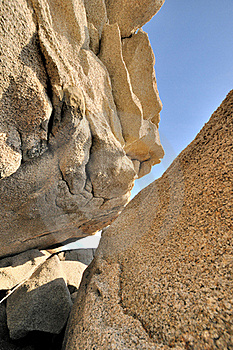 Rocks With Featured Texture Under Blue Sky Royalty Free Stock Image - Image: 20482796
