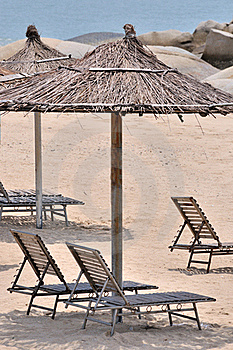 Sea Sand Sunshade And Chair Royalty Free Stock Photos - Image: 20482798