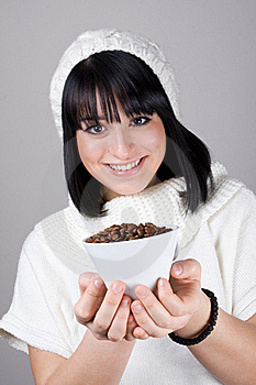 Young Girl Is Holding A Big White Cup Stock Photos - Image: 20482983