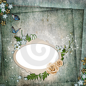 Frame For Photo With Roses, Leaf And Butterfly Stock Photos - Image: 20487313