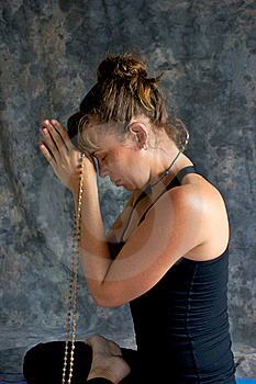 Woman Praying With Mala Beads Stock Photos - Image: 20493083
