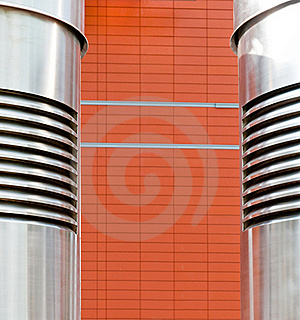 Abstraction, Metalpipe In Front Of The Brickwork Stock Photography - Image: 20494012