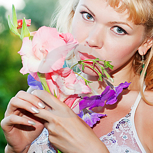 Gentle Erotic Woman With Flowers Royalty Free Stock Photography - Image: 20496837