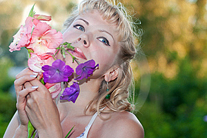 Happy Sensual Woman With  Flowers Stock Photos - Image: 20496853