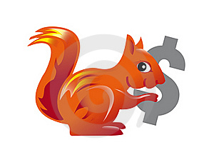 Red Squirrel Carrying A Dollar Symbol Stock Image - Image: 20498151