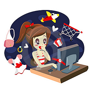 Computer Girl Shopping - Vector Royalty Free Stock Images - Image: 20499639